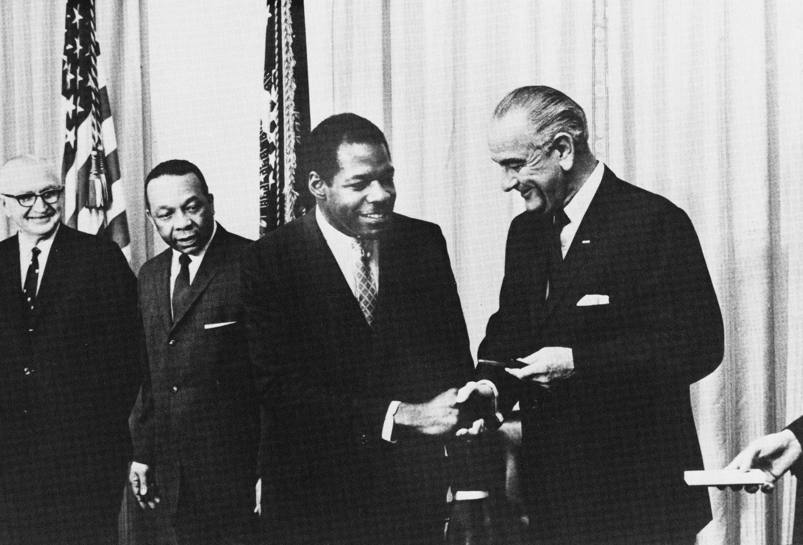 Washington Technical Institute -- Cleveland Dennard,President of WTI, with President Lyndon...