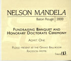 Nelson Mandela Fundraising Banquet and Honorary Doctorate Ceremony Admit Card